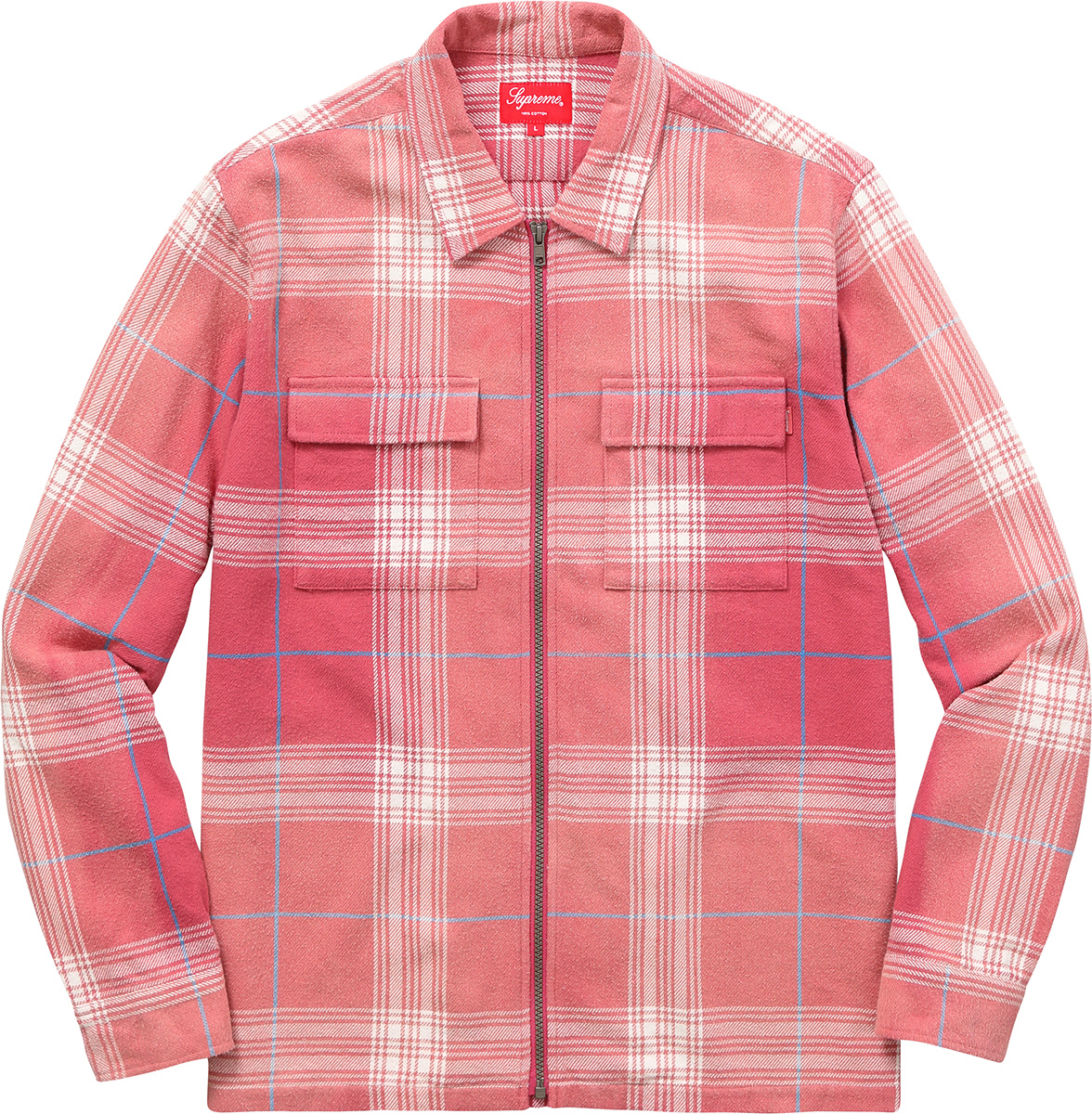supreme faded plaid flannel zip up shirt