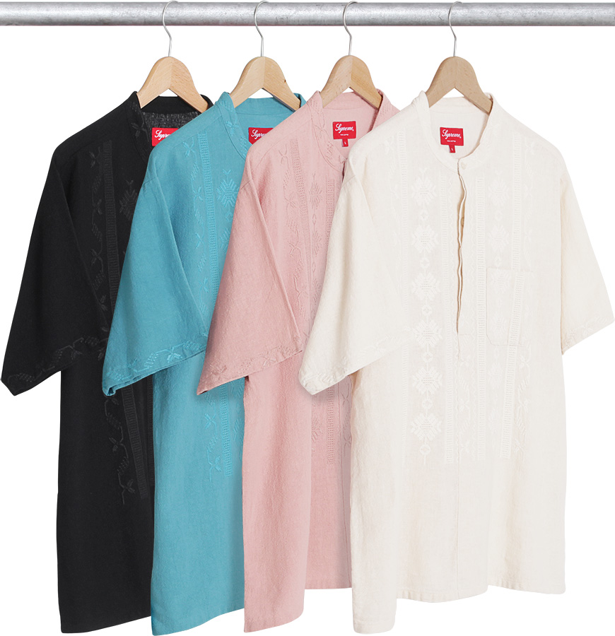 Supreme embroidered band collar s shirt
