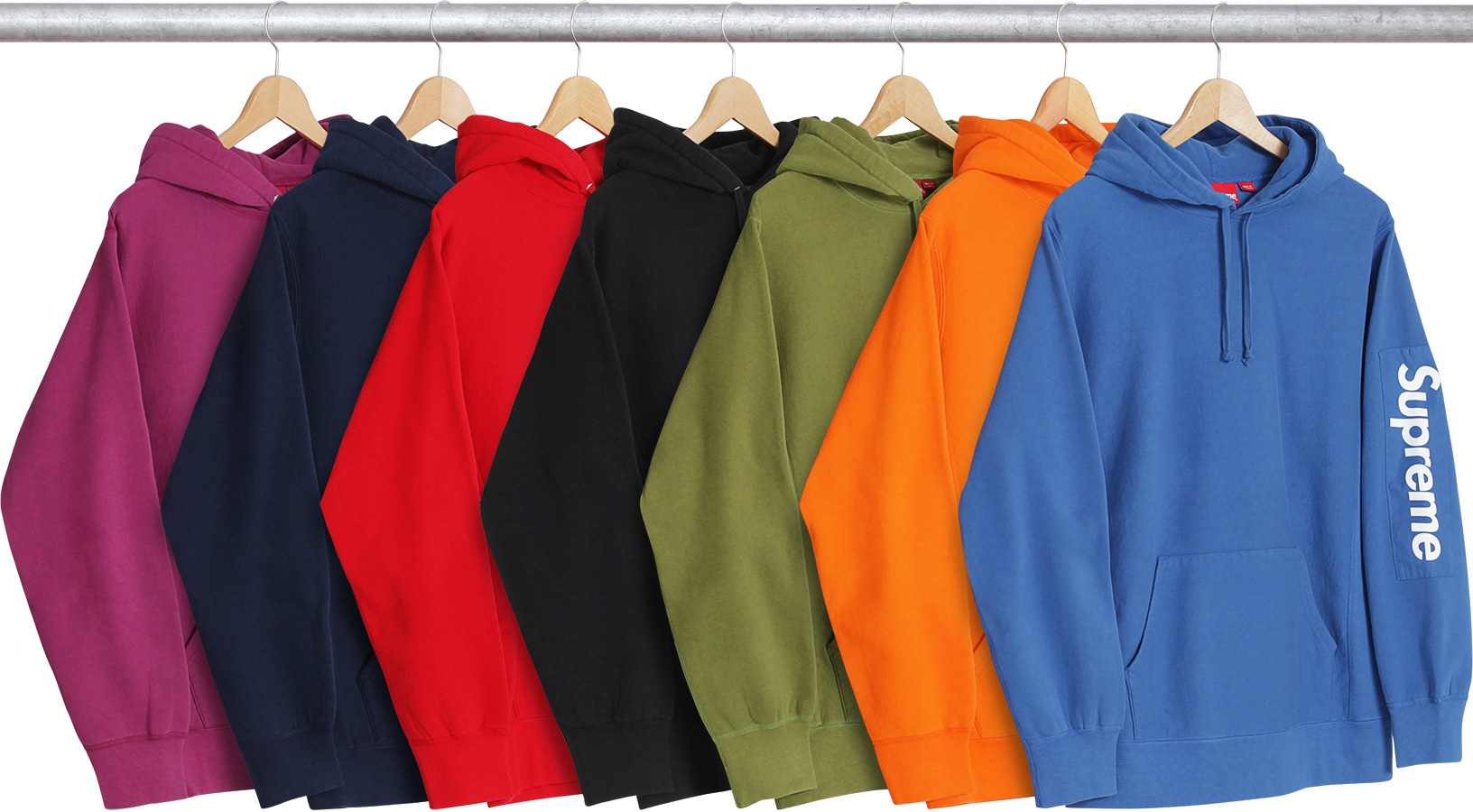 supreme sleeve patch hooded sweatshirt