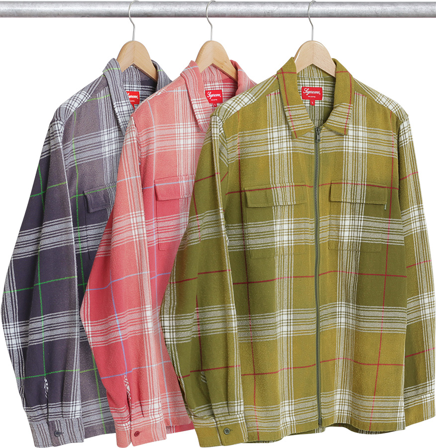 Supreme faded plaid flannel zip up shirt for Zip front flannel shirt
