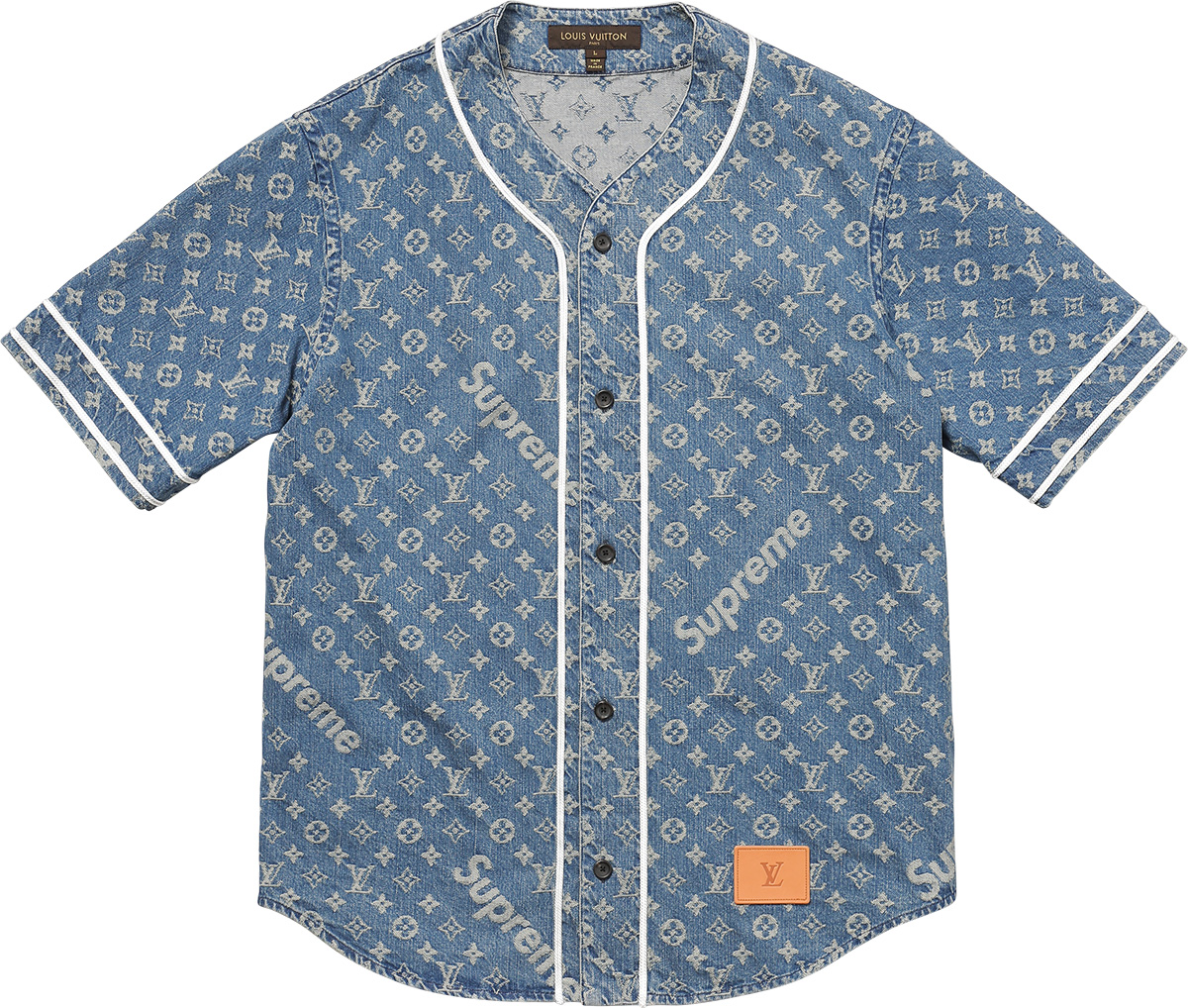 supreme louis vuitton supreme jacquard denim baseball jersey. Black Bedroom Furniture Sets. Home Design Ideas