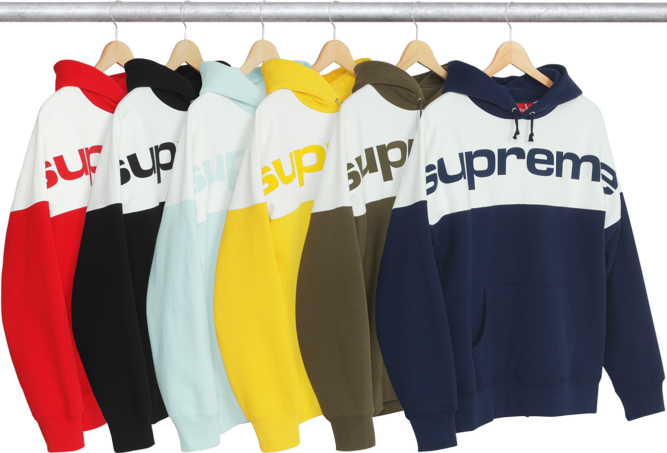 supreme blocked hooded sweatshirt