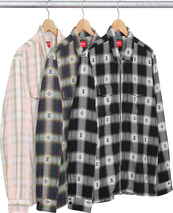 Supreme plaid flannel zip up shirt for Zip front flannel shirt