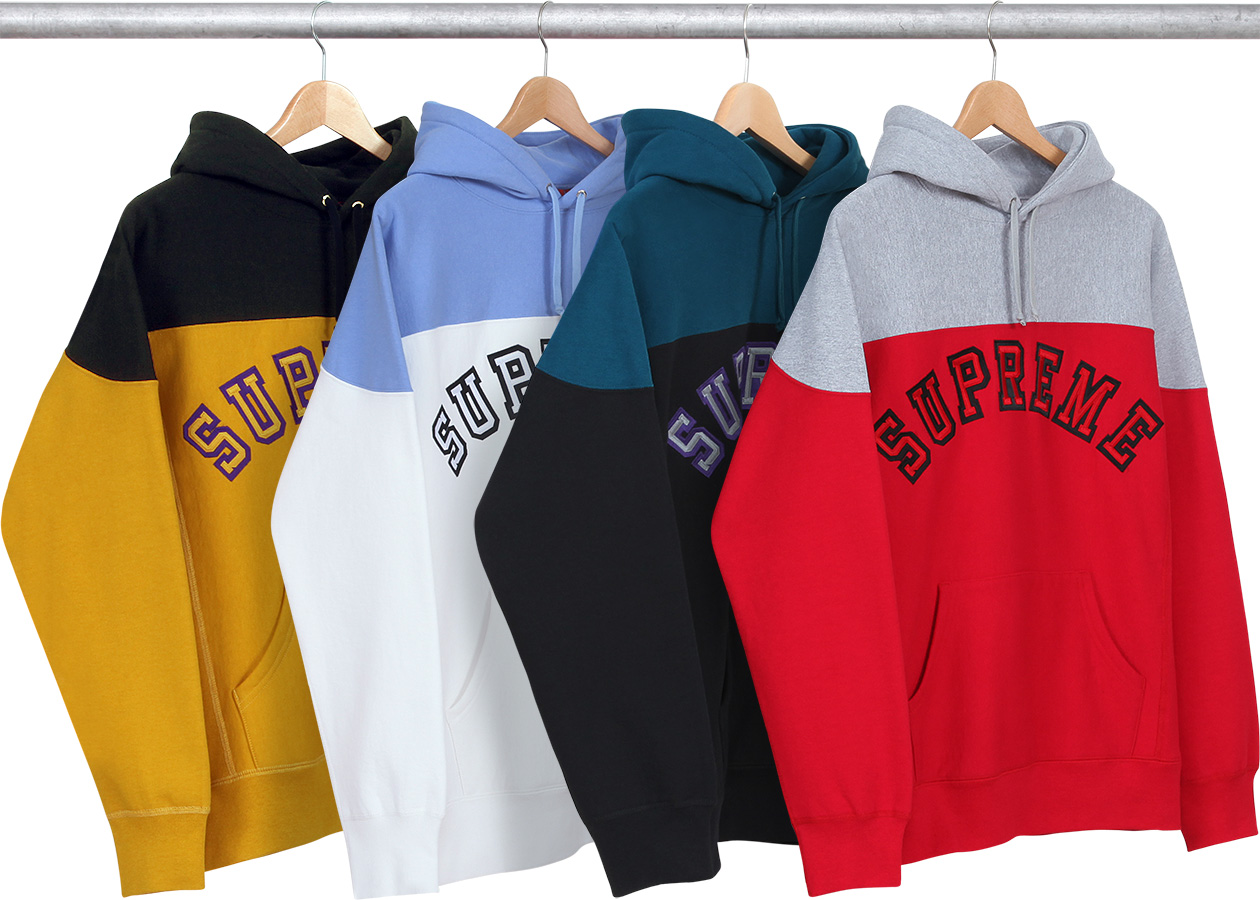 wtb supreme 2 tone arc logo hoodie in sz med black or