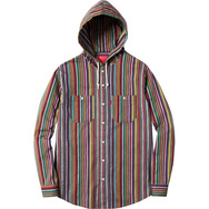 Striped Madras Hooded Shirt