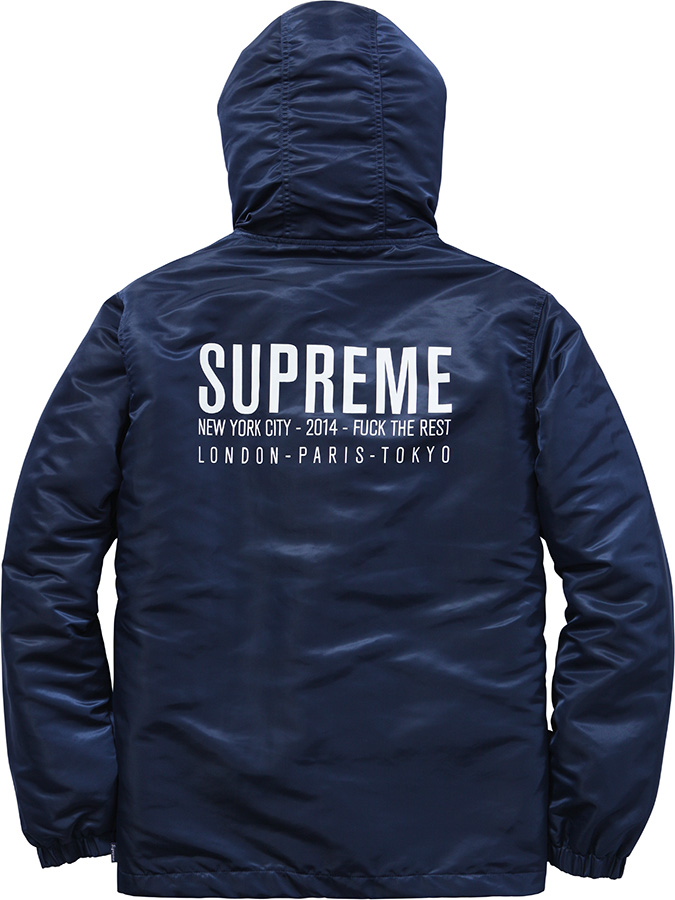supreme satin twill pullover hoodie navy fw14 m l xl ebay. Black Bedroom Furniture Sets. Home Design Ideas
