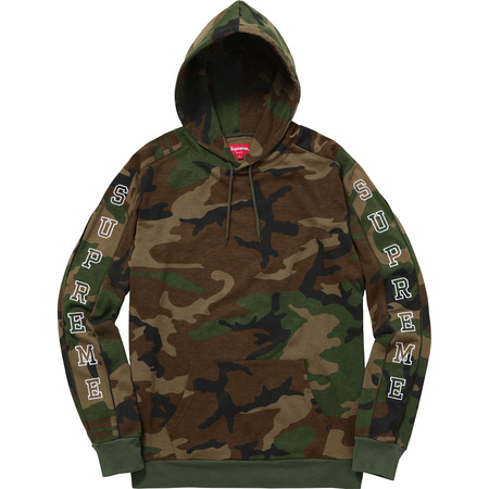 Supreme Logo Hooded Sleeve Stripe Top Woodland Camo Box ...